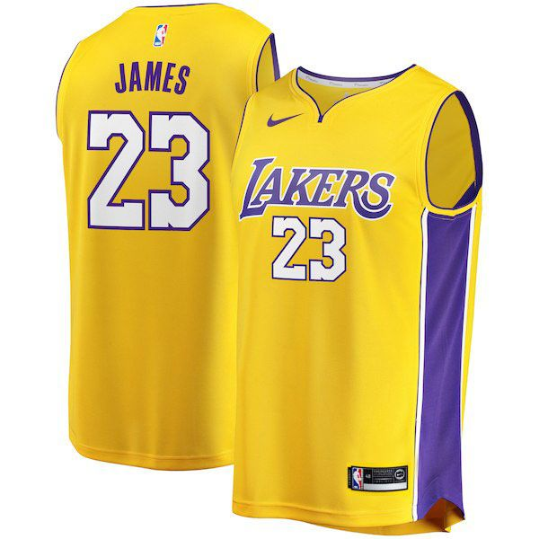 Mens Women Youth Nba Los Angeles Lakers #23 Lebron James Nike Swingman Gold Jersey