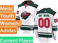Mens Women Youth Adidas Minnesota Wild White Away Current Player Jersey