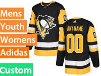 Mens Women Youth Adidas Nhl Pittsburgh Penguins Custom Made Black Jersey