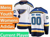 Mens Women Youth Adidas St.louis Blues White Away Current Player Jersey