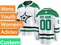 Mens Women Youth Adidas Dallas Stars Custom Made White Away Jersey