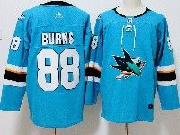 Mens San Jose Sharks #88 Brent Burns Blue Home Adidas Jersey