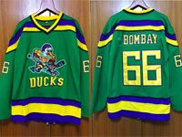 Mens Nhl Anaheim Mighty Ducks #66 Bombay Green Movie Jersey