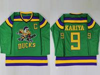 Mens Nhl Anaheim Mighty Ducks #9 Kariya Green Movie Jersey