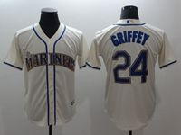 Mens Mlb Seattle Mariners #24 Ken Griffey Jr Cream Cool Base Jersey