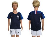 Youth Soccer France National Team ( Custom Made ) Blue Home 2018 World Cup Short Sleeve Suit Jersey