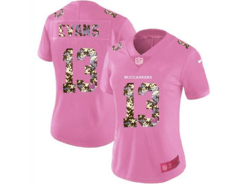 Women Tampa Bay Buccaneers #13 Mike Evans Pink Camouflage Font Love Vapor Untouchable Limited Player Jersey