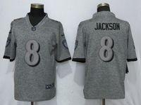 Mens Nfl Baltimore Ravens #8 Lamar Jackson Gray Vapor Untouchable Stitched Gridiron Limited Jersey