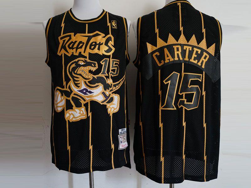 Mens Nba Toronto Raptors #15 Vince Carter Black Stripe Hardwood Classics Jersey