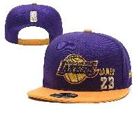 Mens Los Angeles Lakers Purple Gold #23 Lebron James  Adjustable Snapback Hats