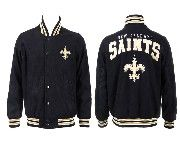 Mens Nfl New Orleans Saints Black Heavyweight Embroidered Jacket