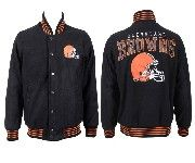 Mens Nfl Cleveland Browns Black Heavyweight Embroidered Jacket