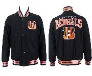 Mens Nfl Cincinnati Bengals Black Heavyweight Embroidered Jacket