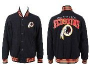 Mens Nfl Washington Redskins Black Heavyweight Embroidered Jacket