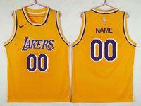 Mens Nba Los Angeles Lakers Custom Made Nike Purple Number Swingman Gold Jersey