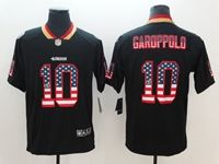 Mens San Francisco 49ers #10 Jimmy Garoppolo 2018 Usa Flag Fashion Black Vapor Untouchable Limited Jersey