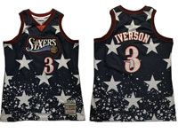 Mens Nba Philadelphia 76ers #3 Allen Iverson Independent Daily Swingman Hardwood Classics Black Jersey