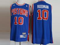 Mens Nba Detroit Pistons #10 Rodman Adidas Blue Hardwood Throwback Mesh Jersesy