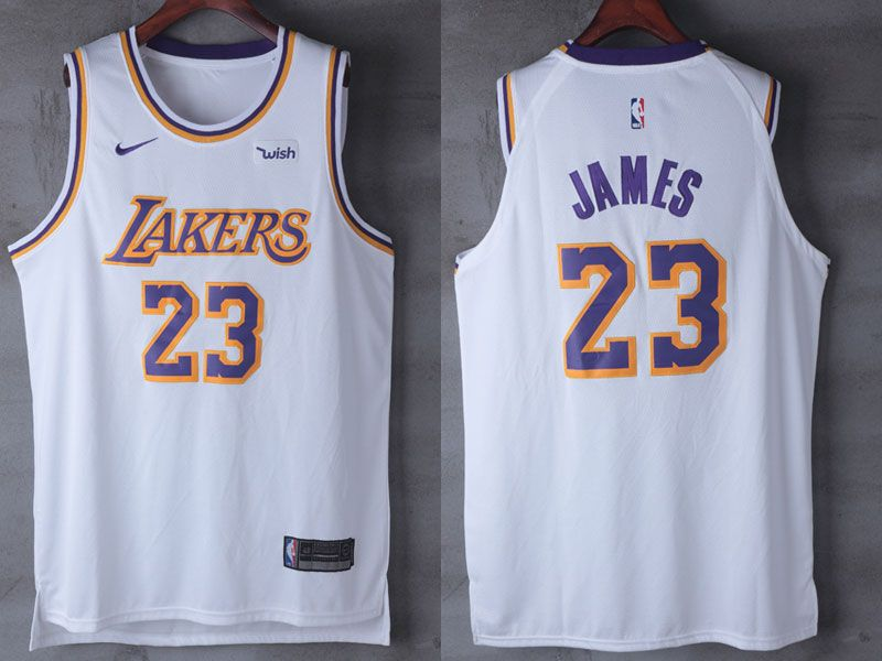8ee4e6b71 Mens Nba Los Angeles Lakers  23 Lebron James Nike 2018-19 Authentic White  Jersey