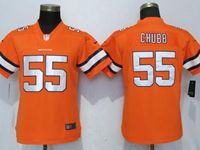 Women Nfl Denver Broncos #55 Bradley Chubb Orangecolor Rush Elite Player Jersey