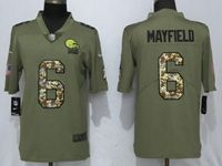 Mens Nfl Cleveland Browns #6 Baker Mayfield Olive Camo Carson 2017 Salute To Service Limited Jersey