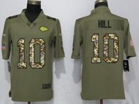 Mens Nfl Kansas City Chiefs #10 Tyreek Hill Olive Camo Carson 2017 Salute To Service Limited Jersey