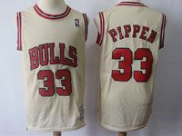 Mens Nba Chicago Bulls #33 Pippen Cream Mitchell And Ness Swingman Hardwood Classics Mesh Jersey