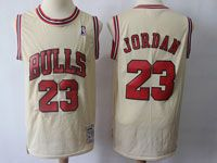 Mens Nba Chicago Bulls #23 Michael Jordan Cream Mitchell&ness Swingman Hardwood Classics Mesh Jersey