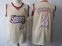 Mens Nba Philadelphia 76ers 76ers #3 Allen Iverson Cream Mitchell And Ness Swingman Hardwood Classics Mesh Jersey