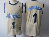 Mens Nba Orlando Magic #1 Mcgrady Cream Mitchell&ness Swingman Hardwood Classics Mesh Jersey