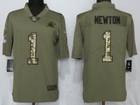 Mens Nfl Carolina Panthers #1 Cam Newton Olive Camo Carson 2017 Salute To Service Limited Jersey