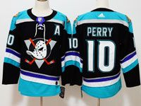 Mens Nhl Anaheim Mighty Ducks #10 Corey Perry Black Teal Adidas Alternate Jersey