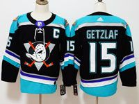 Mens Nhl Anaheim Mighty Ducks #15 Ryan Getzlaf Black Teal Adidas Alternate Jersey