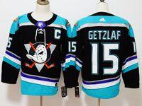 Mens Nhl Anaheim Mighty Ducks #15 Ryan Getzlaf Black Teal Adidas Alternate Jersey