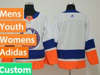 Mens Nhl New York Islanders Custom Made White Adidas Jersey