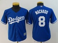 Women Majestic Los Angeles Dodgers #8 Manny Machado Blue Cool Base Jersey