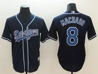 Mens Los Angeles Dodgers #8 Manny Machado Black Throwback Cool Base Jersey