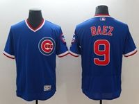 Mens Mlb Chicago Cubs #9 Javier Baez Blue Throwback Pullover Flex Base Jersey