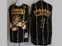 Mens Nba Toronto Raptors #1 Tracy Mcgrady Black Stripe Hardwood Classics Jersey