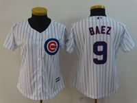 Women Majestic Chicago Cubs #9 Javier Baez White Cool Base Jersey