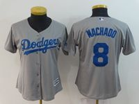 Women Majestic Los Angeles Dodgers #8 Manny Machado Gray Cool Base Jersey