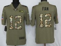 Mens Nfl Seattle Seahawks #12 Fan Olive Camo Carson 2017 Salute To Service Limited Jersey