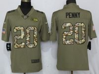 Mens Nfl Seattle Seahawks #20 Rashaad Penny Olive Camo Carson 2017 Salute To Service Limited Jersey