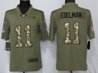 Mens New England Patriots #11 Julian Edelman Olive Camo Carson 2017 Salute To Service Limited Jersey