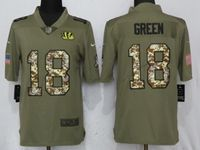 Mens Nfl Cincinnati Bengals #18 Aj Green Olive Camo Carson 2017 Salute To Service Limited Jersey