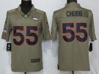 Mens Nfl Denver Broncos #55 Bradley Chubb Green Olive Salute To Service Limited Nike Jersey
