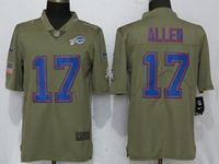 Mens Nfl Buffalo Bills #17 Josh Allen Green Olive Salute To Service Limited Nike Jersey