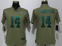 Women Nike Nfl New York Jets #14 Sam Darnold Green Olive Salute To Service Elite Player Jersey