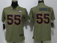 Women Nike Nfl Denver Broncos #55 Bradley Chubb Green Olive Salute To Service Elite Player Jersey