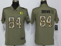 Women Pittsburgh Steelers #84 Antonio Brown Green Olive Camo Carson 2017 Salute To Service Elite Player Jersey